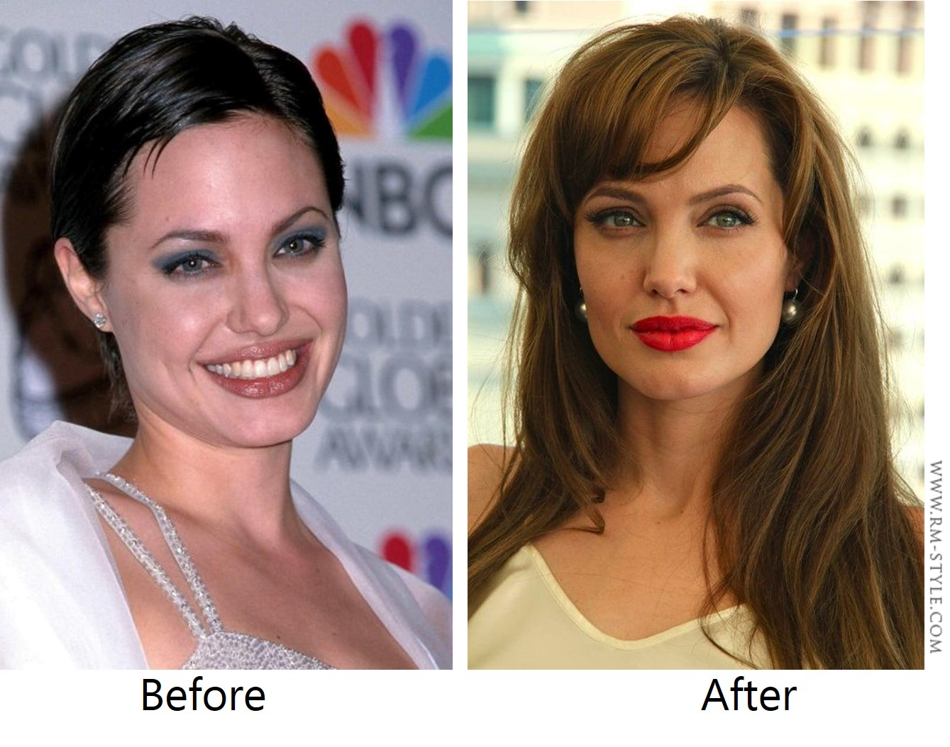 Angelina Jolie always beautiful. But with time she got a more sophisticated style. And also thanks to the right use of colors (hairstyle, make up and accessories)