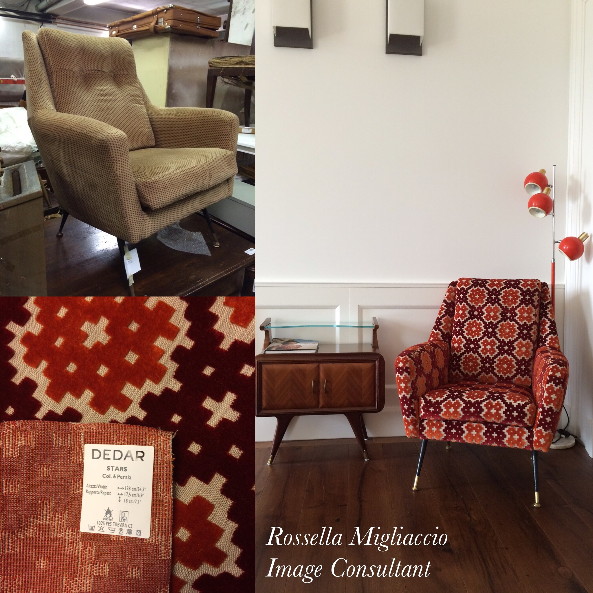 Armchair 50s before-after: how I found it in a flea market and how I transformed it (also thanks to a beautiful fabric Dedar Milano)