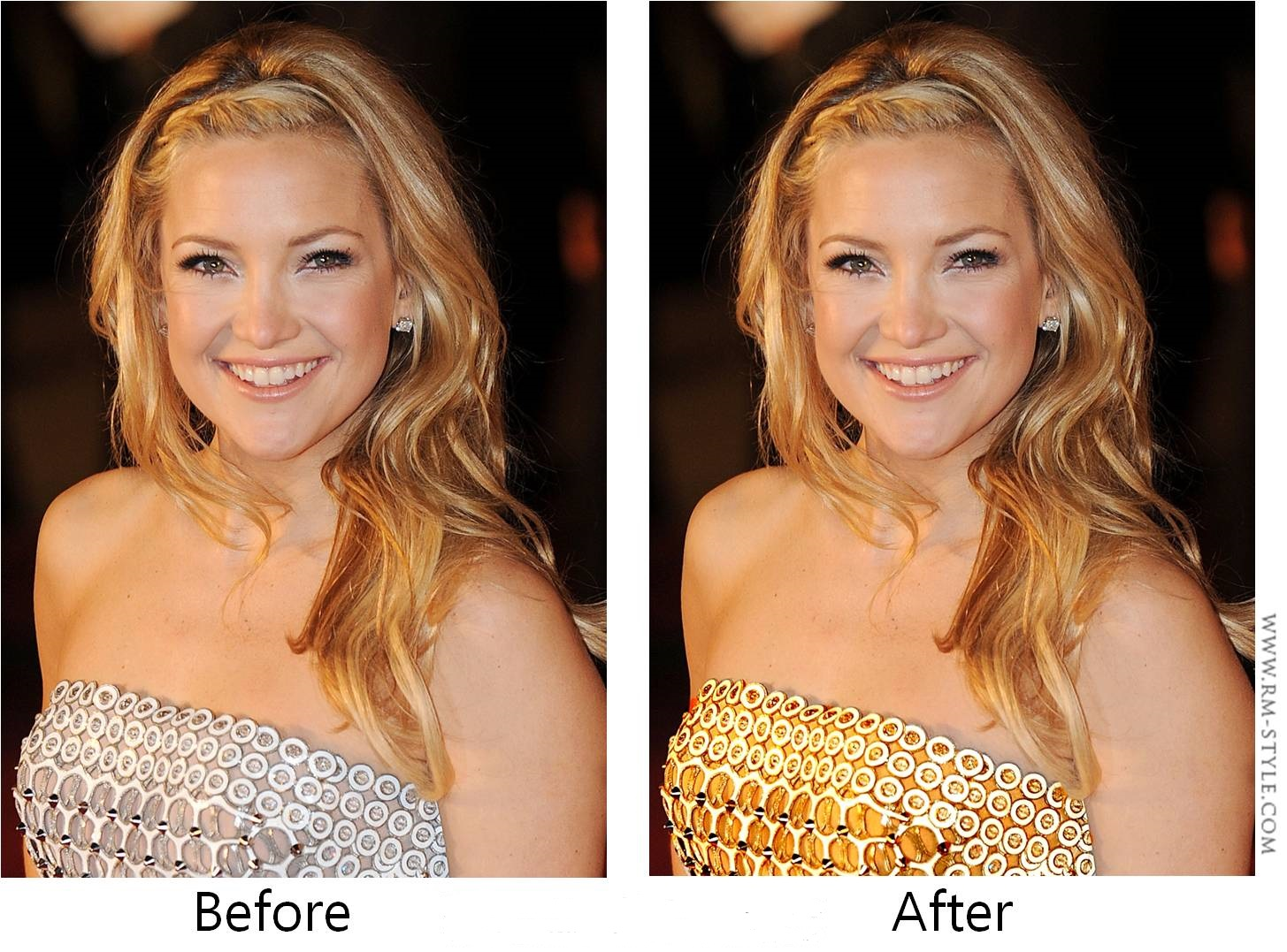 You just need to change the color of the metal to enlighten hair and complexion. In this photo Kate Hudson