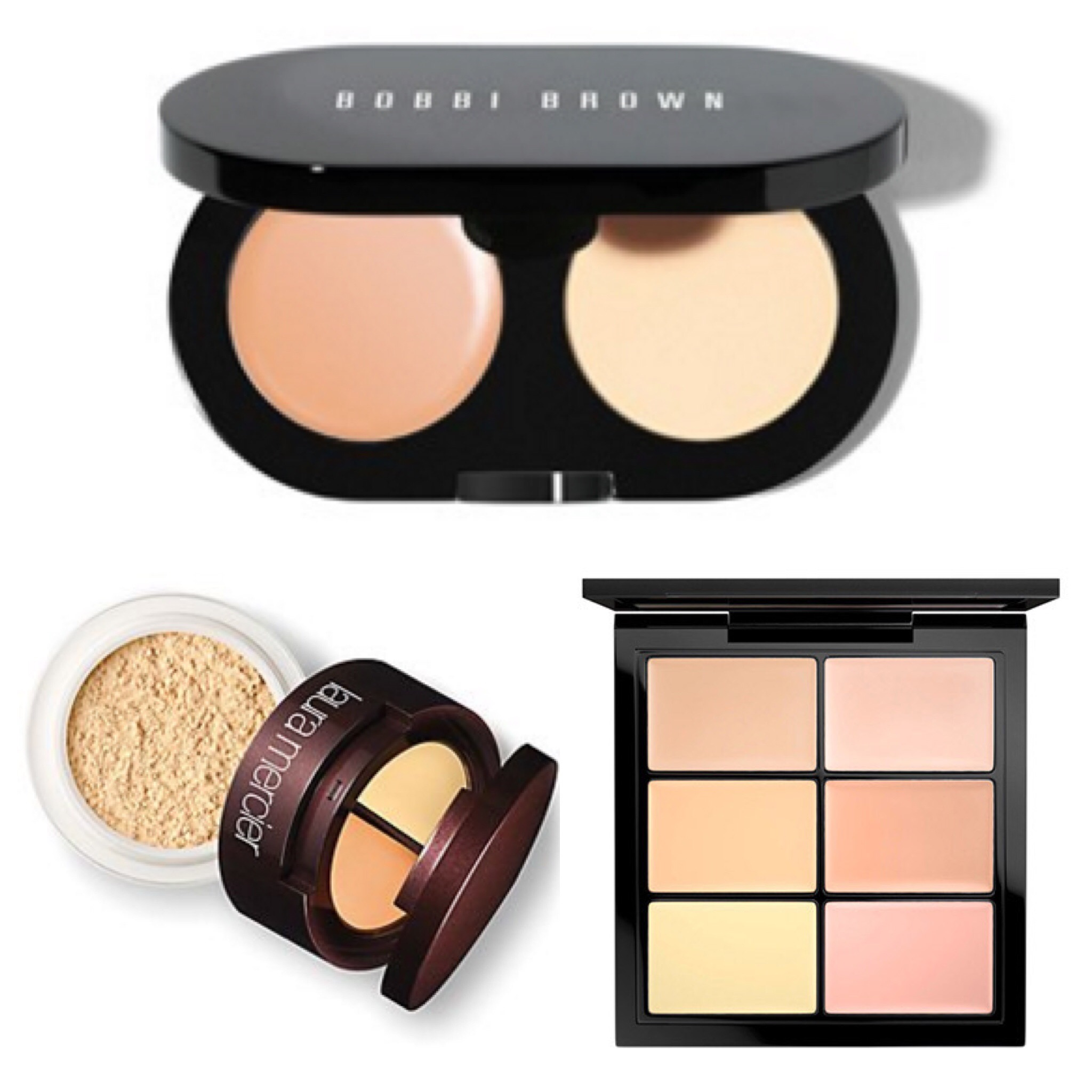 Bobby Brown Creamy Concealer Kit; Laura Mercer Undercover pot; Mac Correct conceal and correct Palette