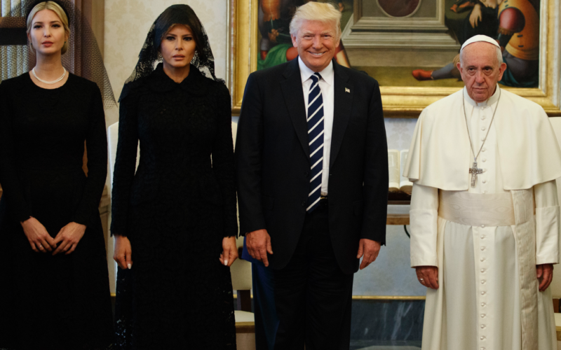 The looks of the Family Trump to Pope Francis